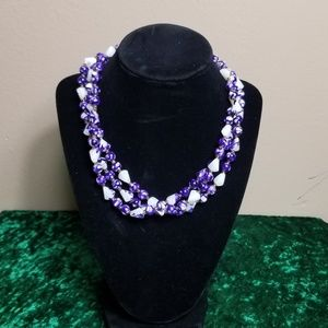 Purple and White Rope Length Layering Necklace